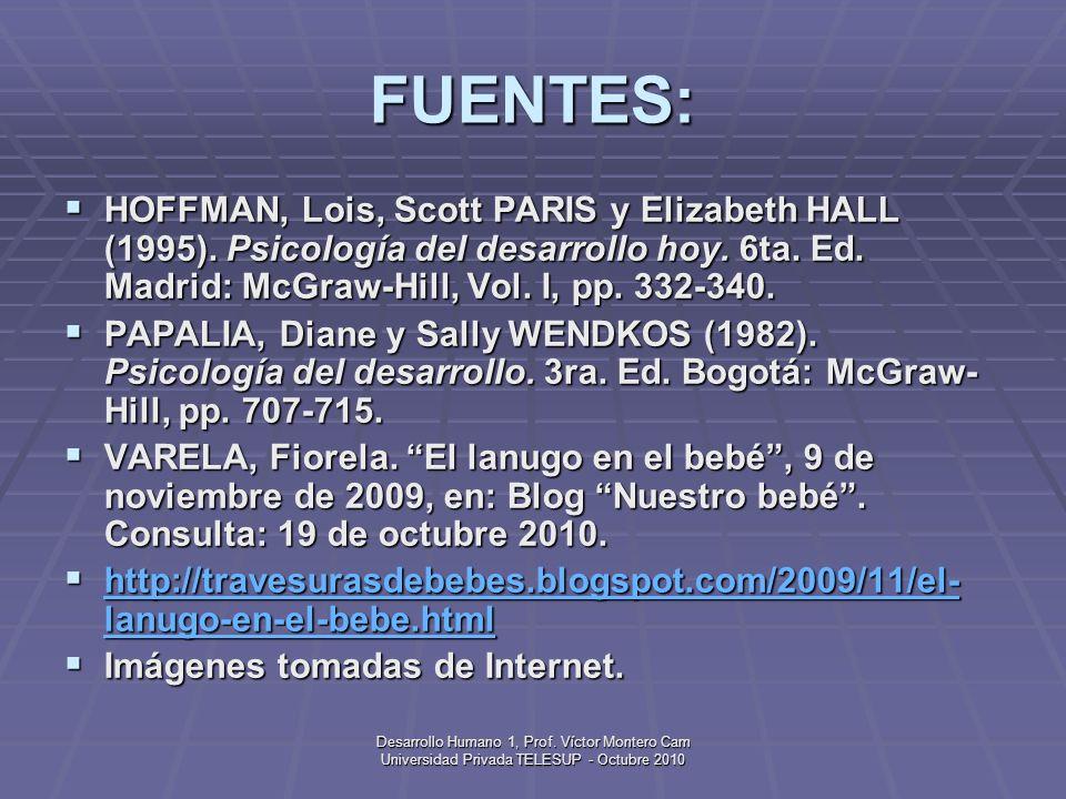 FUENTES:HOFFMAN, Lois, Scott PARIS y Elizabeth HALL (1995). Psicología del desarrollo hoy. 6ta. Ed. Madrid: McGraw-Hill, Vol. I, pp. 332-340.