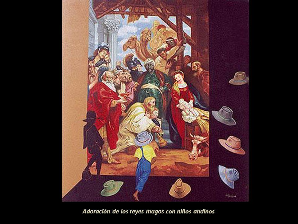 Adoración de los reyes magos con niños andinos