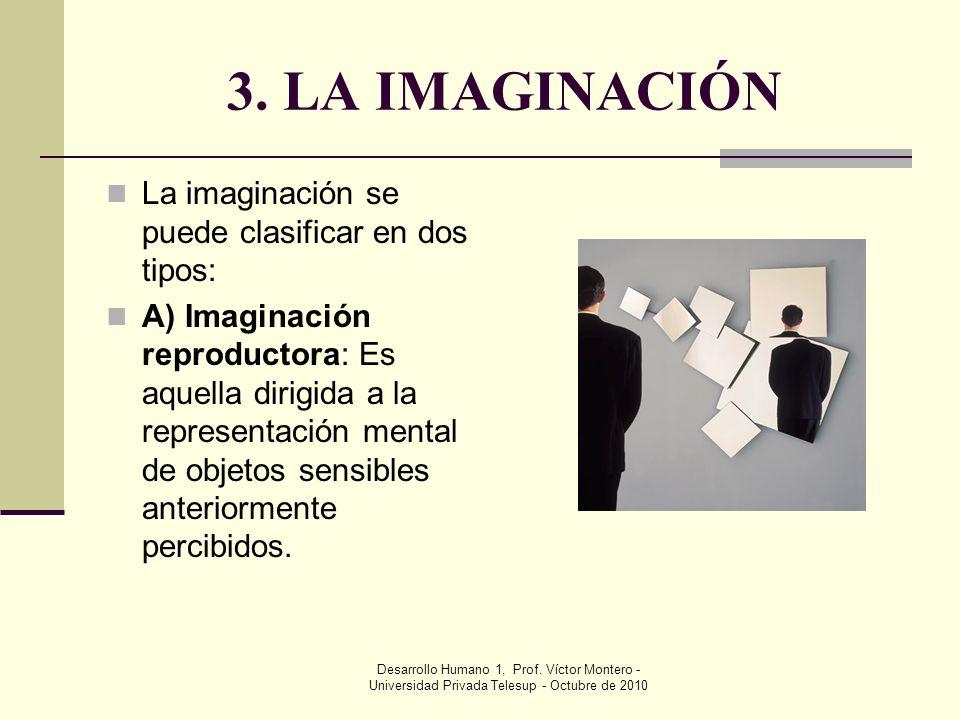 3. LA IMAGINACIÓN La imaginación se puede clasificar en dos tipos: