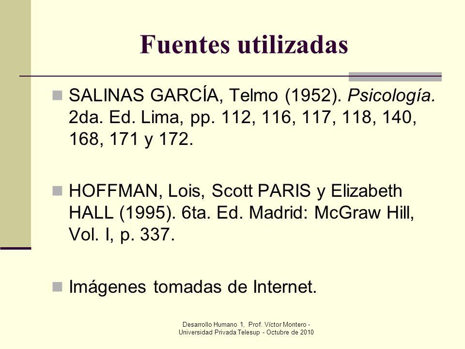 Fuentes utilizadas SALINAS GARCÍA, Telmo (1952). Psicología. 2da. Ed. Lima, pp. 112, 116, 117, 118, 140, 168, 171 y 172.