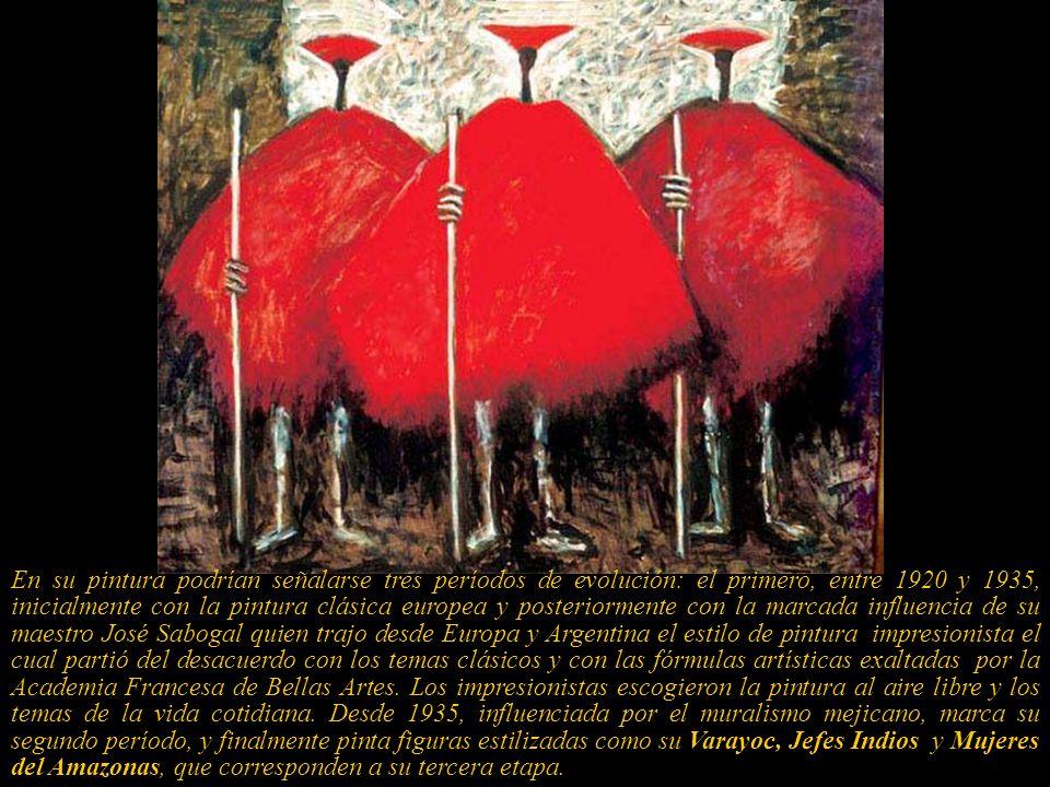En su pintura podrían señalarse tres períodos de evolución: el primero, entre 1920 y 1935, inicialmente con la pintura clásica europea y posteriormente con la marcada influencia de su maestro José Sabogal quien trajo desde Europa y Argentina el estilo de pintura impresionista el cual partió del desacuerdo con los temas clásicos y con las fórmulas artísticas exaltadas por la Academia Francesa de Bellas Artes.