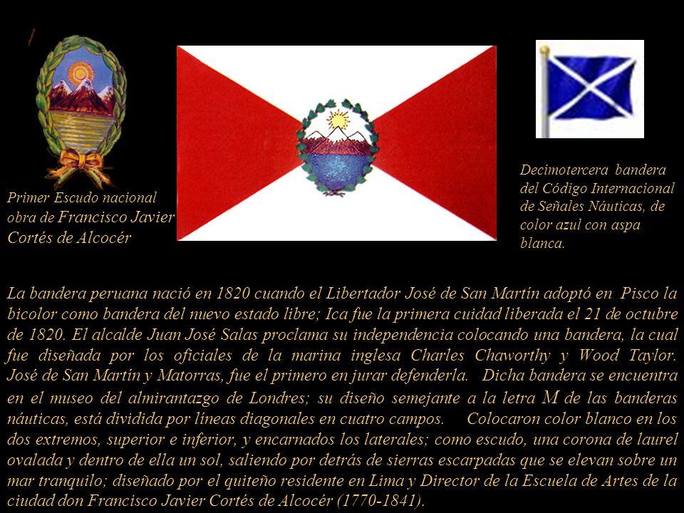 Decimotercera bandera del Código Internacional de Señales Náuticas, de color azul con aspa blanca.