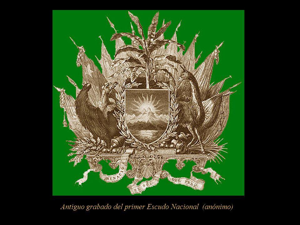 Antiguo grabado del primer Escudo Nacional (anónimo)