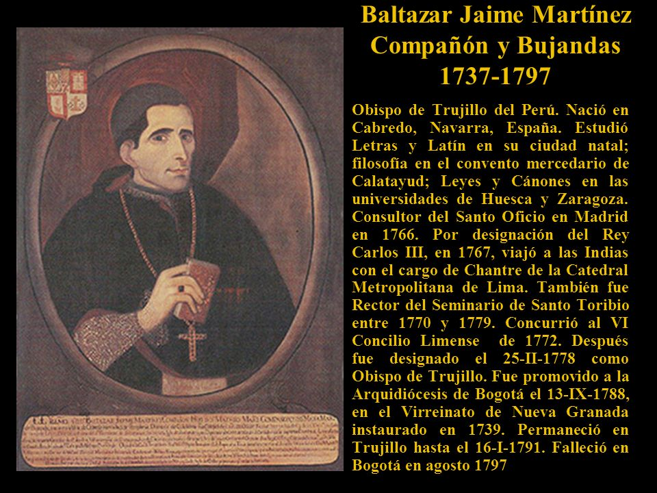Baltazar Jaime Martínez Compañón y Bujandas 1737-1797