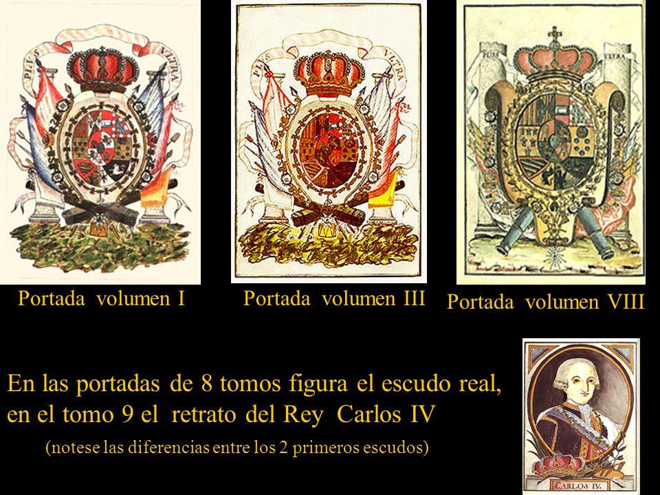En las portadas de 8 tomos figura el escudo real,