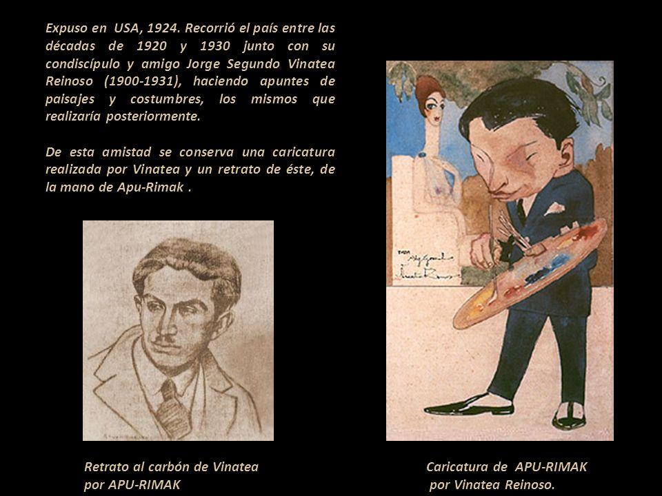 Expuso en USA, 1924. Recorrió el país entre las décadas de 1920 y 1930 junto con su condiscípulo y amigo Jorge Segundo Vinatea Reinoso (1900-1931), haciendo apuntes de paisajes y costumbres, los mismos que realizaría posteriormente.