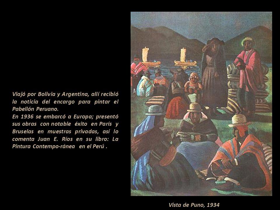 Viajó por Bolivia y Argentina, allí recibió la noticia del encargo para pintar el Pabellón Peruano.