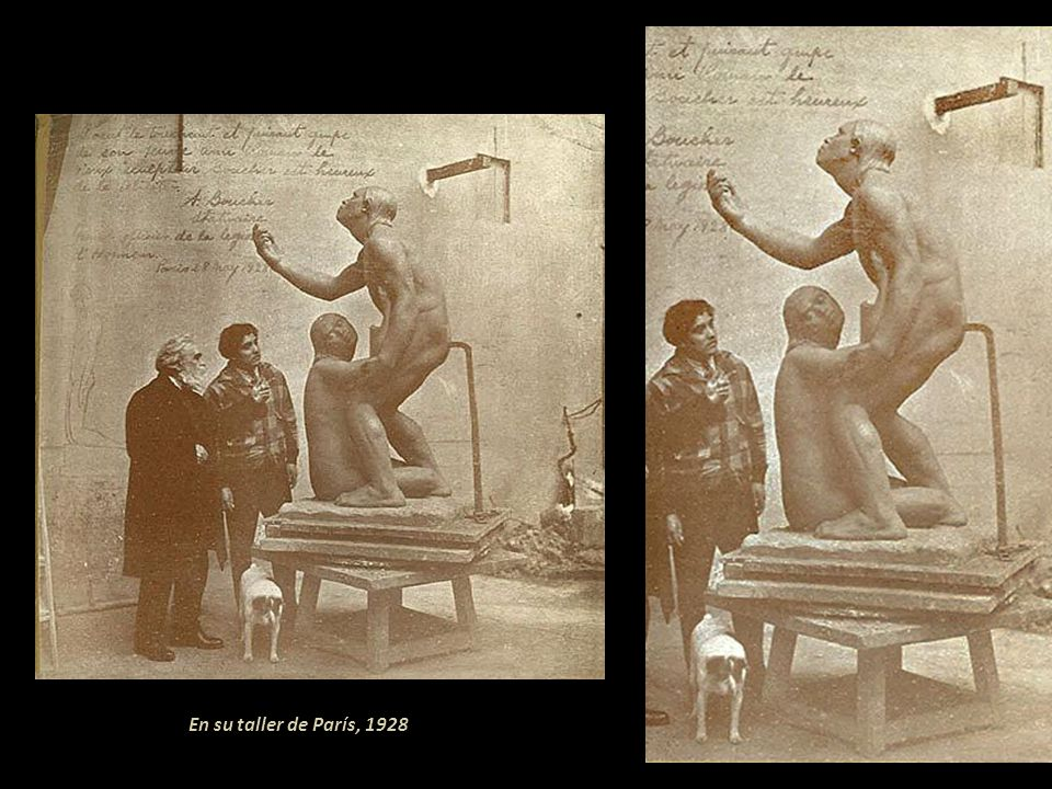 En su taller de París, 1928