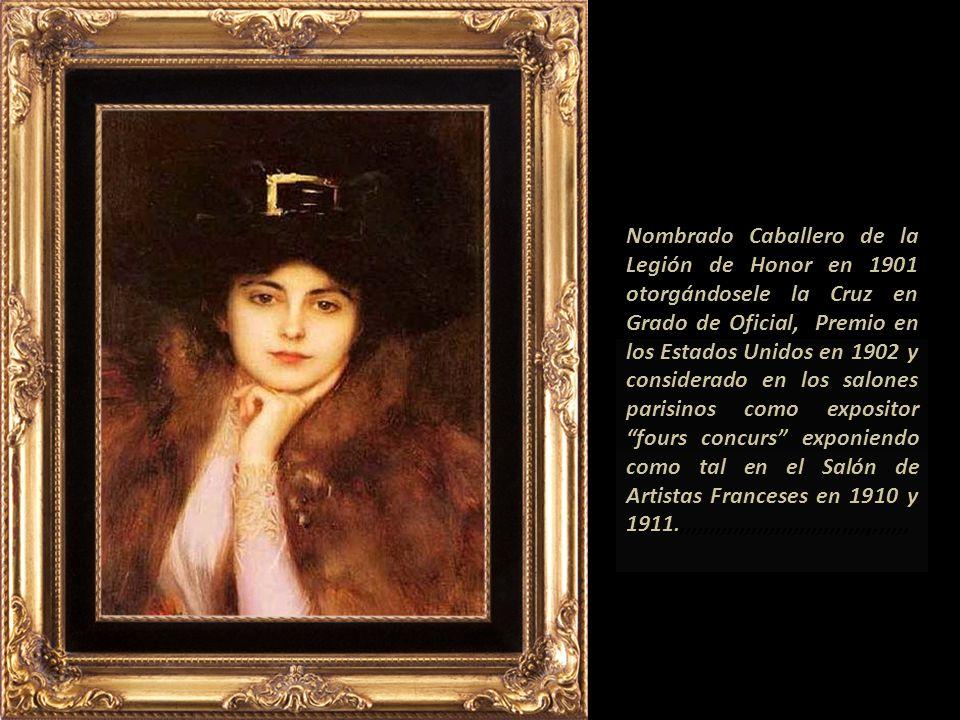 Nombrado Caballero de la Legión de Honor en 1901 otorgándosele la Cruz en Grado de Oficial, Premio en los Estados Unidos en 1902 y considerado en los salones parisinos como expositor fours concurs exponiendo como tal en el Salón de Artistas Franceses en 1910 y 1911.,,,,,,,,,,,,,,,,,,,,,,,,,,,,,,,,,,,,,,