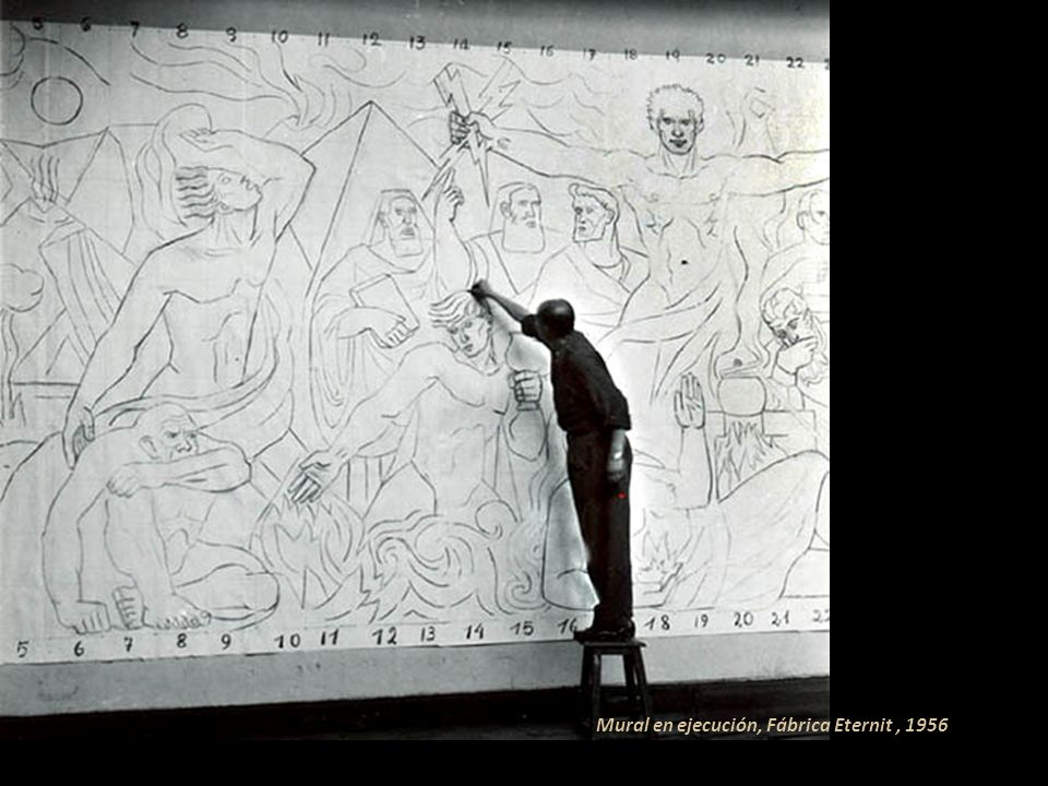 Mural en ejecución, Fábrica Eternit , 1956