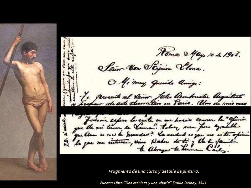 Fragmento de una carta y detalle de pintura.