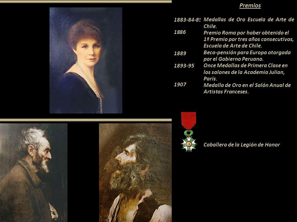 Premios 1883-84-85 Medallas de Oro Escuela de Arte de Chile. 1886