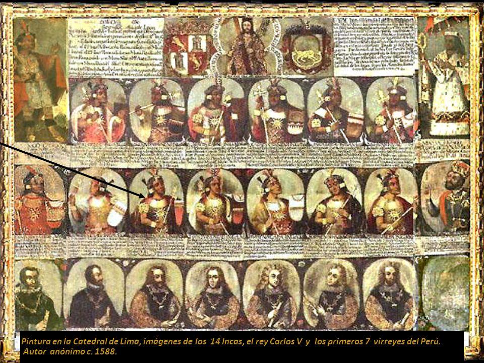 Pintura en la Catedral de Lima, imágenes de los 14 Incas, el rey Carlos V y los primeros 7 virreyes del Perú.