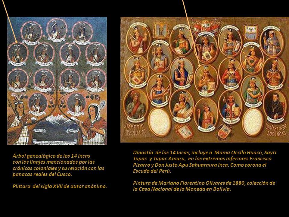 Árbol genealógico de los 14 Incas con los linajes mencionados por las crónicas coloniales y su relación con las panacas reales del Cusco. Pintura del siglo XVII de autor anónimo.