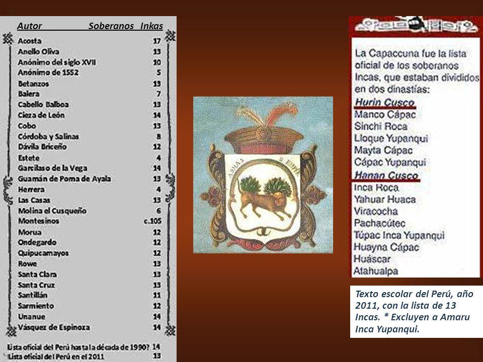 Autor Soberanos Inkas Texto escolar del Perú, año 2011, con la lista de 13 Incas.