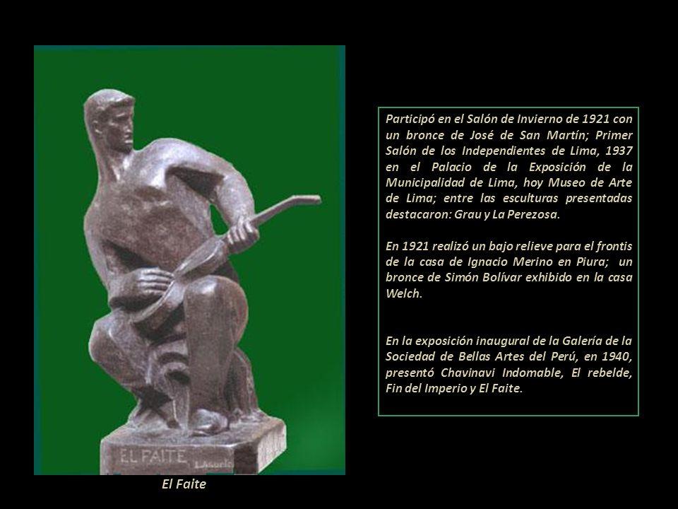 Participó en el Salón de Invierno de 1921 con un bronce de José de San Martín; Primer Salón de los Independientes de Lima, 1937 en el Palacio de la Exposición de la Municipalidad de Lima, hoy Museo de Arte de Lima; entre las esculturas presentadas destacaron: Grau y La Perezosa.