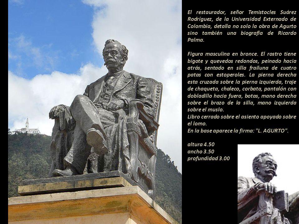 El restaurador, señor Temistocles Suárez Rodríguez, de la Universidad Externado de Colombia, detalla no solo la obra de Agurto sino también una biografía de Ricardo Palma.