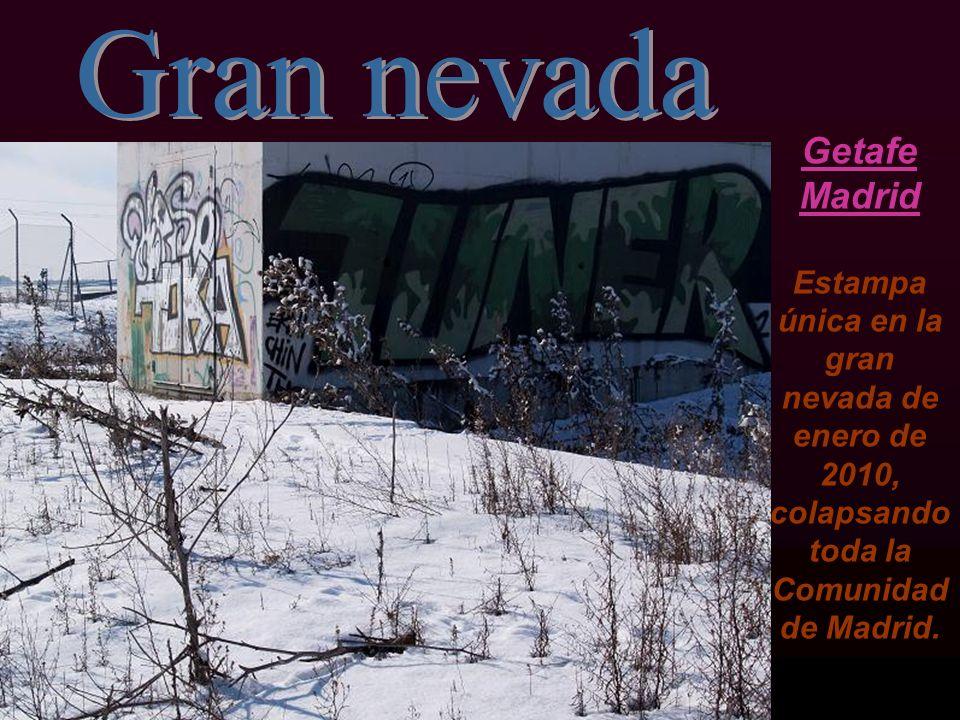 Gran nevada Getafe Madrid Estampa única en la gran nevada de enero de 2010, colapsando toda la Comunidad de Madrid.