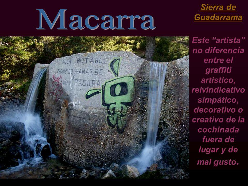 Sierra de Guadarrama Este artista no diferencia entre el graffiti artístico, reivindicativo simpático, decorativo o creativo de la cochinada fuera de lugar y de mal gusto.