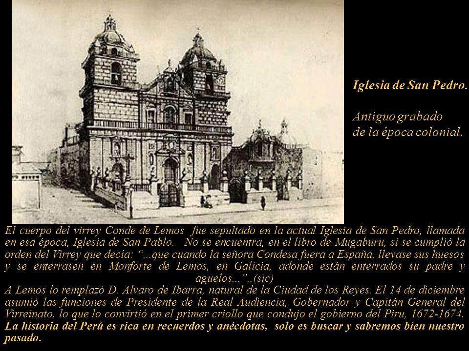 Iglesia de San Pedro. Antiguo grabado de la época colonial.