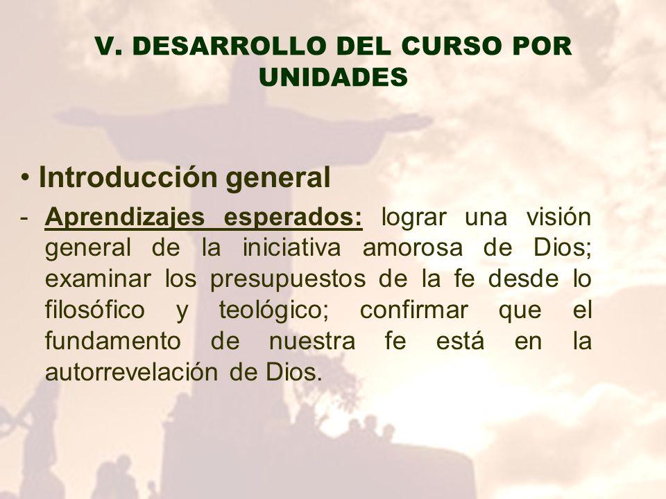 V. DESARROLLO DEL CURSO POR UNIDADES