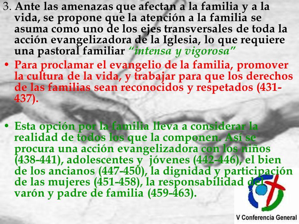 3. Ante las amenazas que afectan a la familia y a la vida, se propone que la atención a la familia se asuma como uno de los ejes transversales de toda la acción evangelizadora de la Iglesia, lo que requiere una pastoral familiar intensa y vigorosa