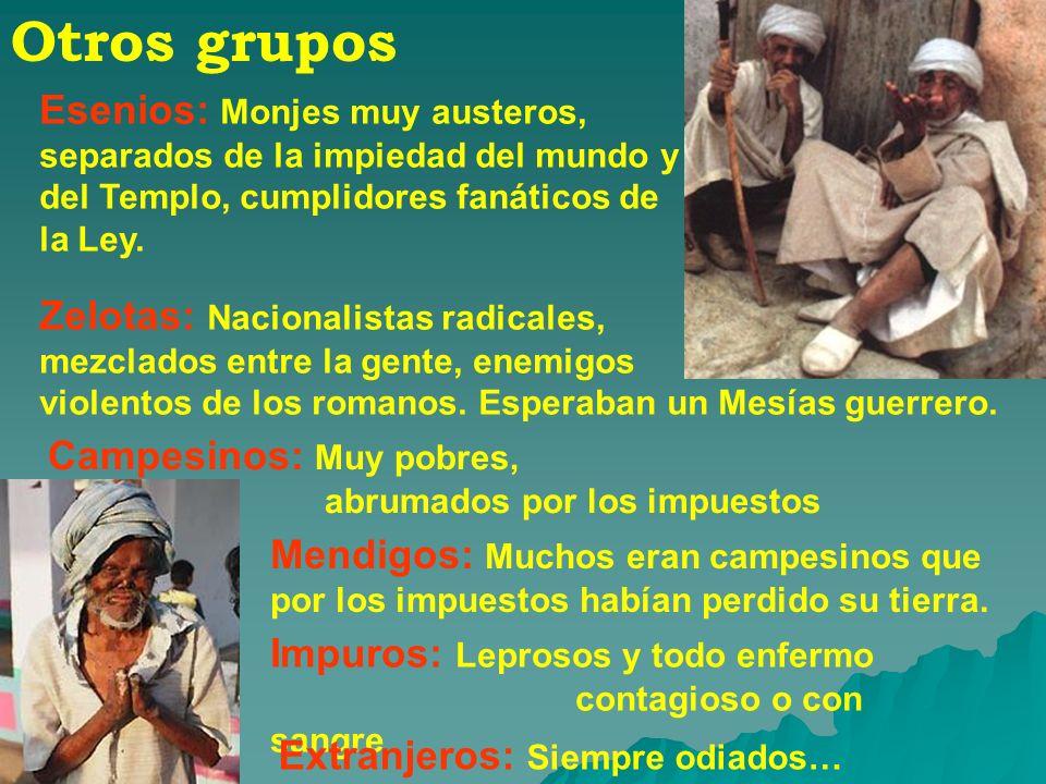 Otros gruposEsenios: Monjes muy austeros, separados de la impiedad del mundo y del Templo, cumplidores fanáticos de la Ley.