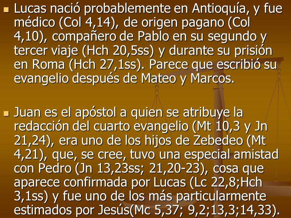 Lucas nació probablemente en Antioquía, y fue médico (Col 4,14), de origen pagano (Col 4,10), compañero de Pablo en su segundo y tercer viaje (Hch 20,5ss) y durante su prisión en Roma (Hch 27,1ss). Parece que escribió su evangelio después de Mateo y Marcos.