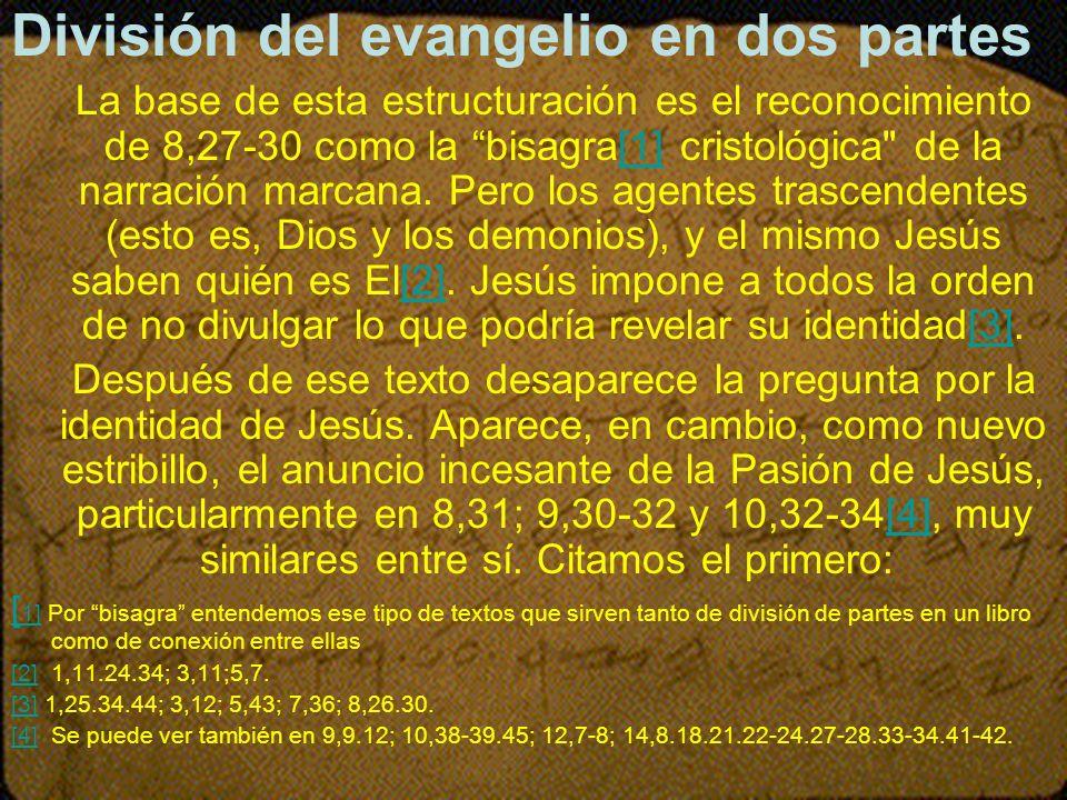 División del evangelio en dos partes