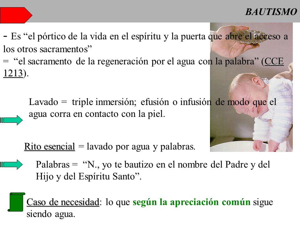 BAUTISMO - Es el pórtico de la vida en el espíritu y la puerta que abre el acceso a los otros sacramentos
