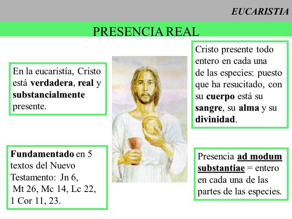 PRESENCIA REAL EUCARISTIA Cristo presente todo entero en cada una