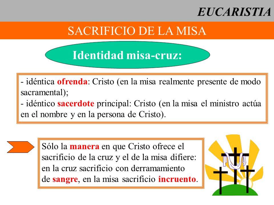EUCARISTIA SACRIFICIO DE LA MISA Identidad misa-cruz: