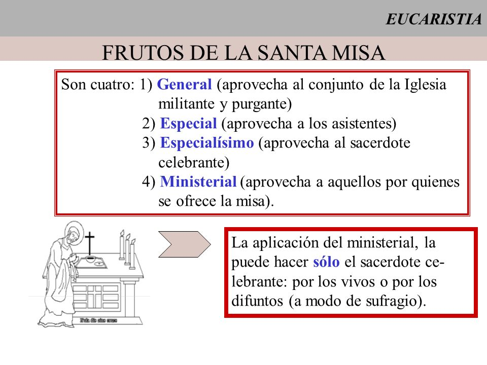 FRUTOS DE LA SANTA MISA EUCARISTIA