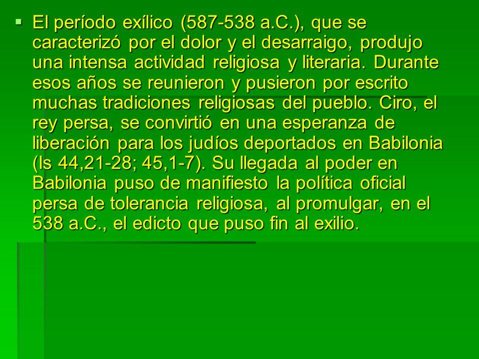 El período exílico (587-538 a. C