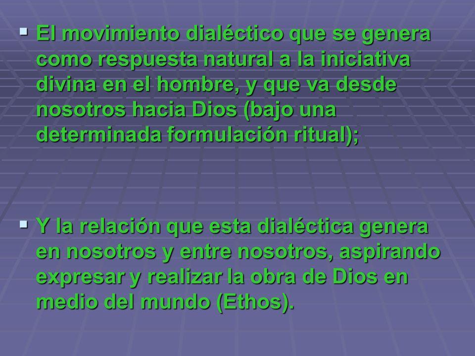 El movimiento dialéctico que se genera como respuesta natural a la iniciativa divina en el hombre, y que va desde nosotros hacia Dios (bajo una determinada formulación ritual);