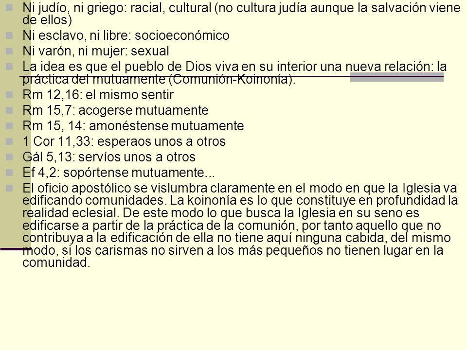 Ni judío, ni griego: racial, cultural (no cultura judía aunque la salvación viene de ellos)