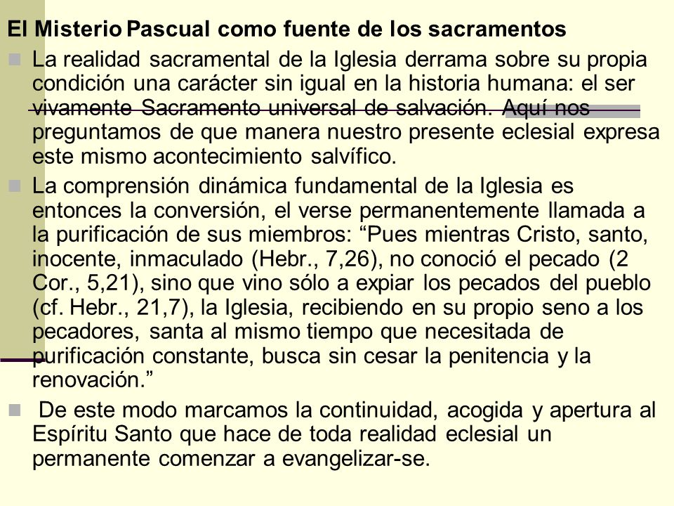 El Misterio Pascual como fuente de los sacramentos