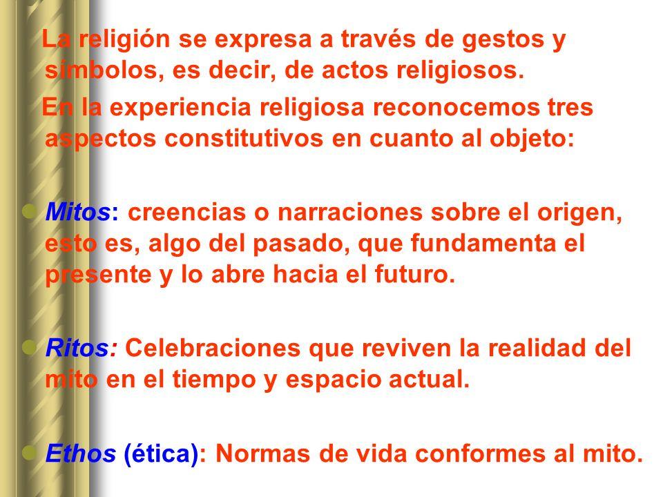 La religión se expresa a través de gestos y símbolos, es decir, de actos religiosos.