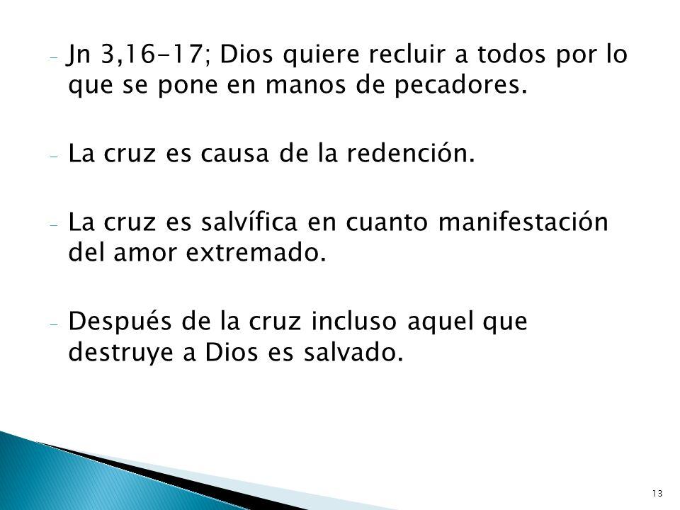 Jn 3,16-17; Dios quiere recluir a todos por lo que se pone en manos de pecadores.