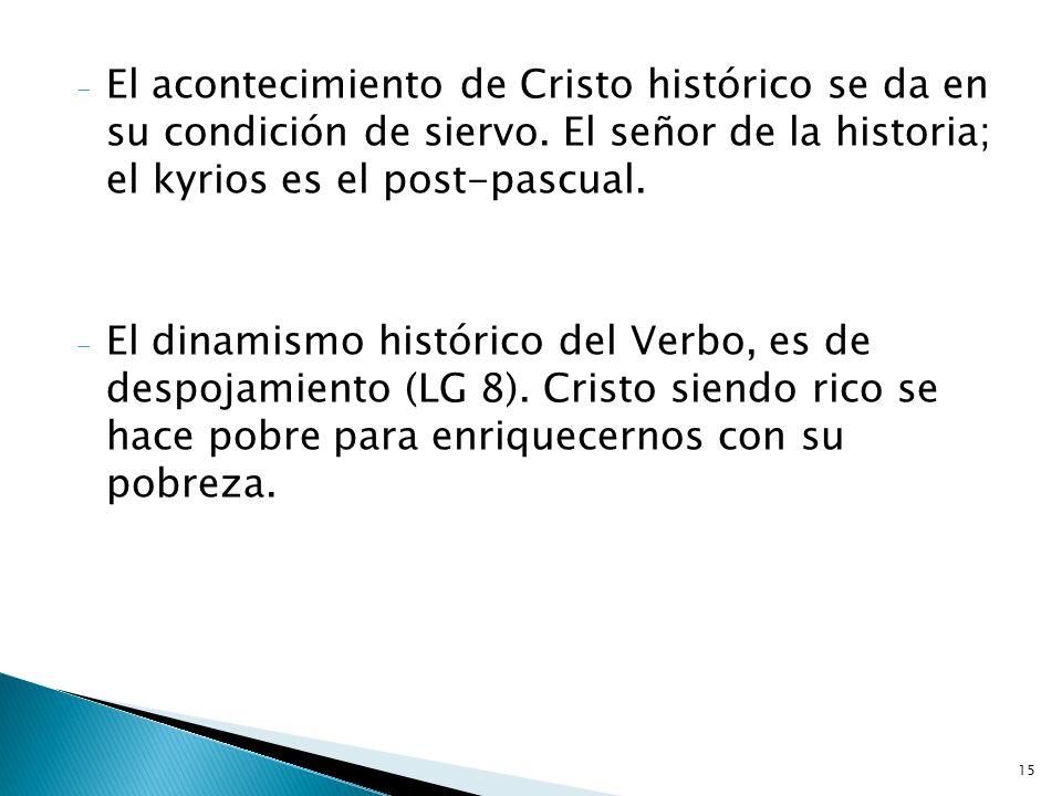 El acontecimiento de Cristo histórico se da en su condición de siervo