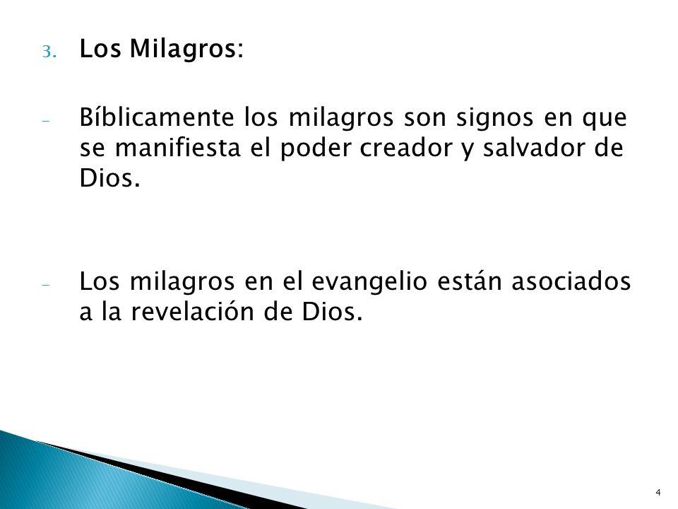 Los Milagros:Bíblicamente los milagros son signos en que se manifiesta el poder creador y salvador de Dios.