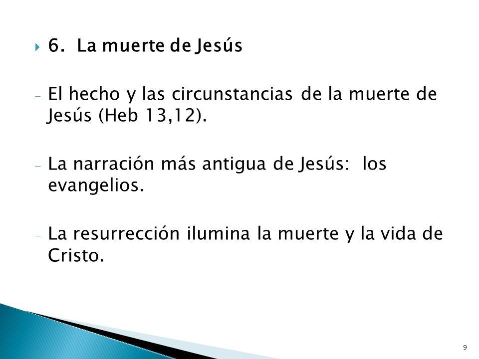 6. La muerte de JesúsEl hecho y las circunstancias de la muerte de Jesús (Heb 13,12). La narración más antigua de Jesús: los evangelios.
