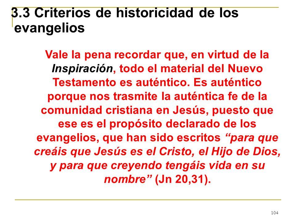 3.3 Criterios de historicidad de los evangelios