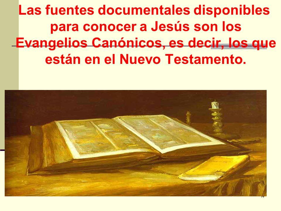 Las fuentes documentales disponibles para conocer a Jesús son los Evangelios Canónicos, es decir, los que están en el Nuevo Testamento.