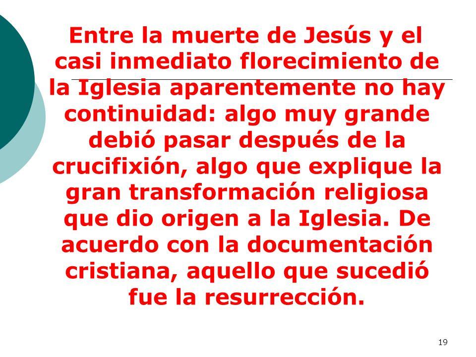 Entre la muerte de Jesús y el casi inmediato florecimiento de la Iglesia aparentemente no hay continuidad: algo muy grande debió pasar después de la crucifixión, algo que explique la gran transformación religiosa que dio origen a la Iglesia.