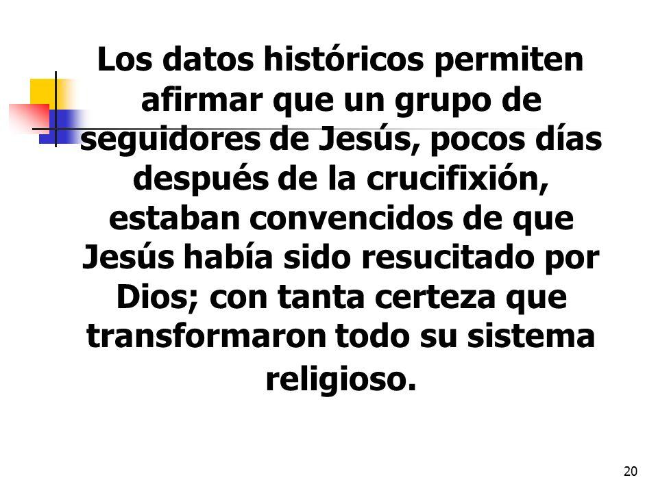 Los datos históricos permiten afirmar que un grupo de seguidores de Jesús, pocos días después de la crucifixión, estaban convencidos de que Jesús había sido resucitado por Dios; con tanta certeza que transformaron todo su sistema religioso.