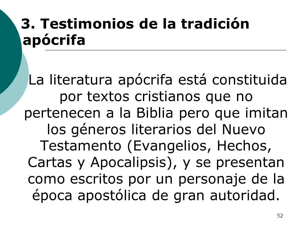 3. Testimonios de la tradición apócrifa