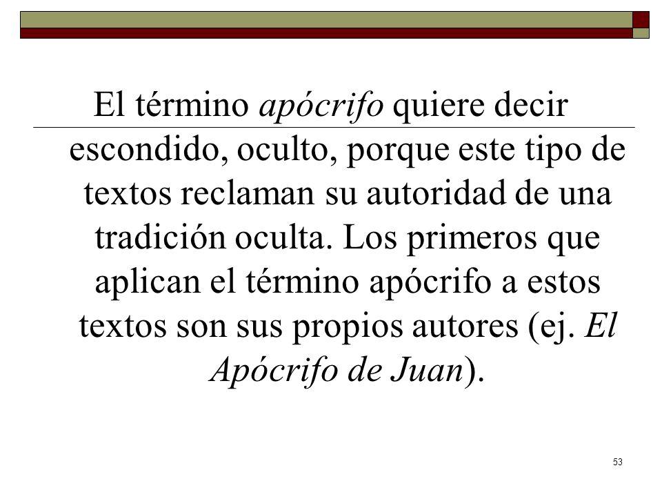 El término apócrifo quiere decir escondido, oculto, porque este tipo de textos reclaman su autoridad de una tradición oculta.