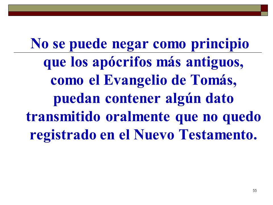No se puede negar como principio que los apócrifos más antiguos, como el Evangelio de Tomás, puedan contener algún dato transmitido oralmente que no quedo registrado en el Nuevo Testamento.