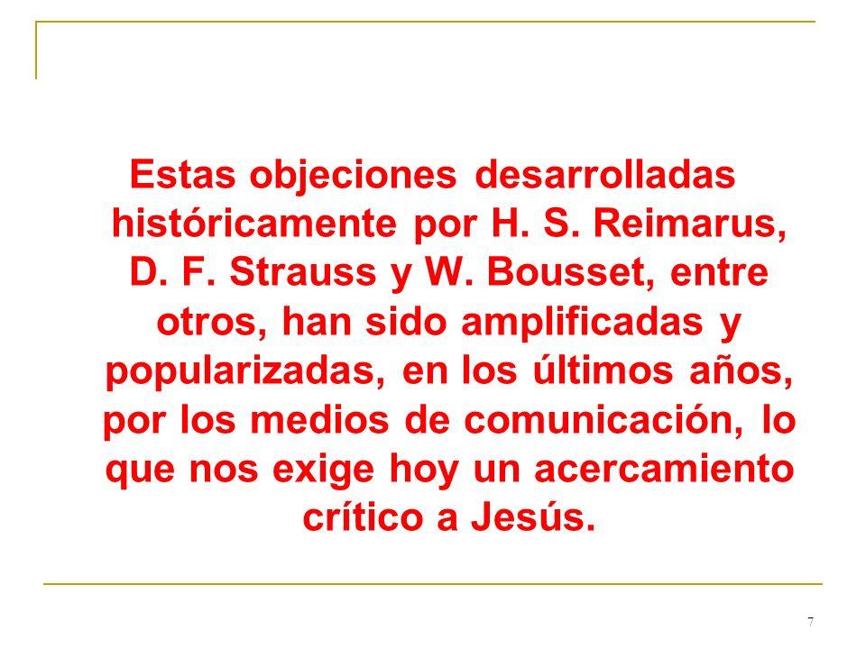 Estas objeciones desarrolladas históricamente por H. S. Reimarus, D. F